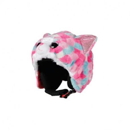 Couvre casque peluche brodée Chat