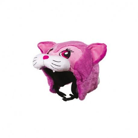Couvre casque peluche brodée Panthère rose