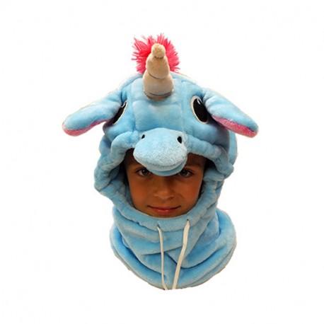 Capuche / Tour de cou polaire licorne bleu
